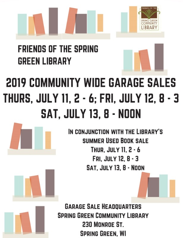 Spring Green Community-Wide Garage Sale: 31 sales and a book sale